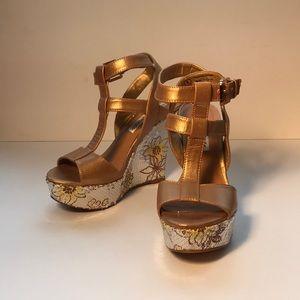 Naughty Monkey   Gold Platform Heels